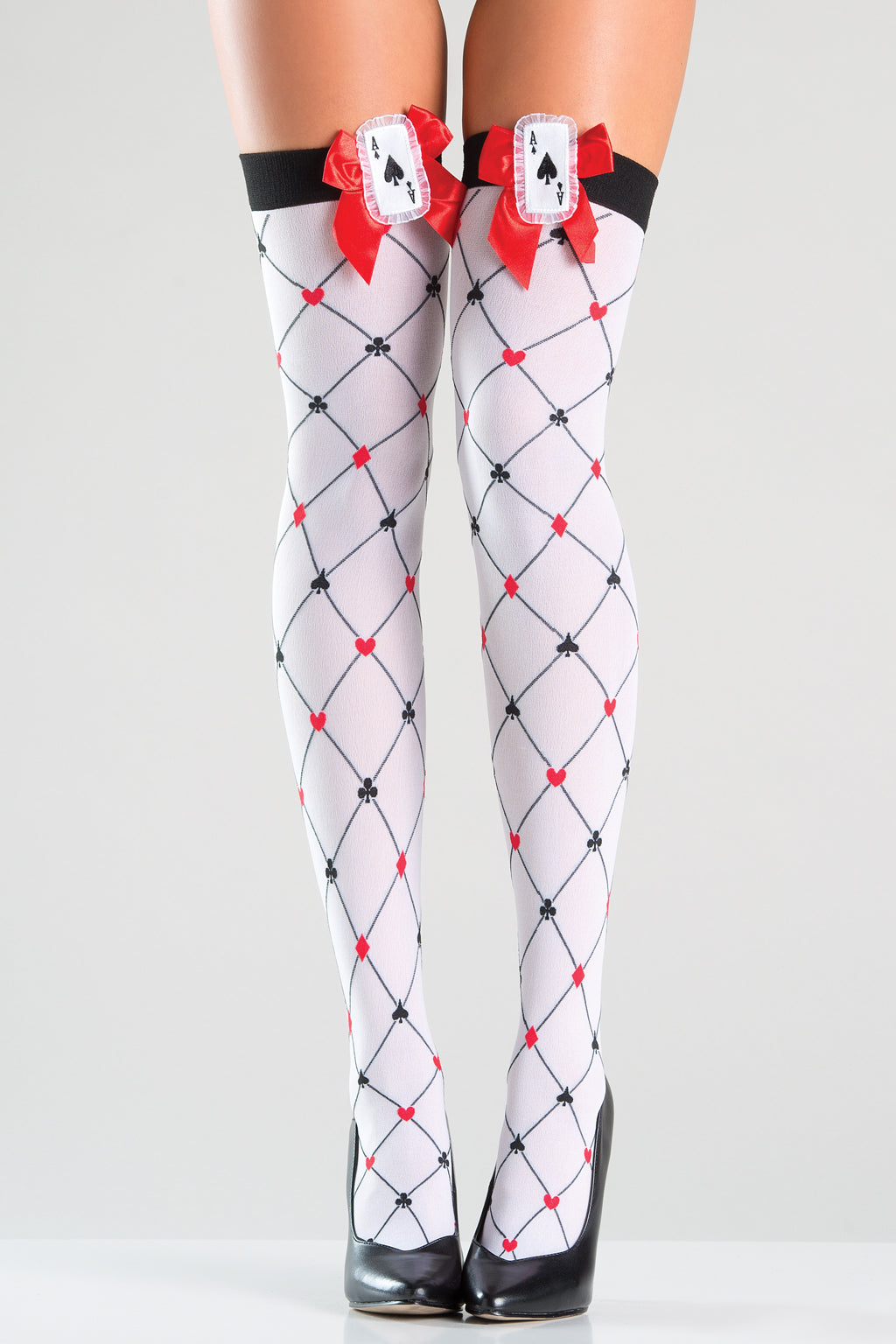 Diamond Style Playing Card Thigh Highs