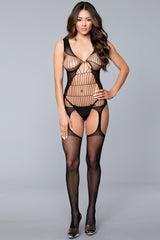 Plus Size Suspender Bodystocking with Cut-Outs