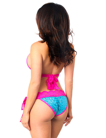 Sequin And Lace Pucker Back Bikini