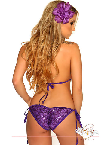 Purple Sequin Pucker Back Bikini