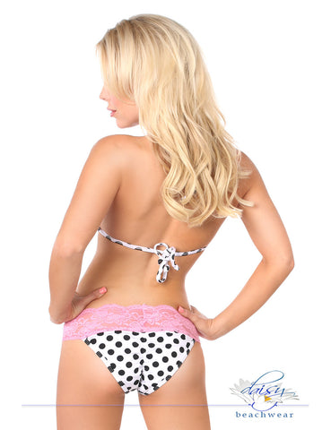 Pin-Up Polka Dot Pucker Back Lace Bikini