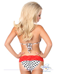 Pin-Up Polka Dot Pucker Back Lace Bikini - just damn sexy  - 2
