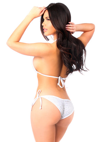 White Sequin & Rhinestones Pucker Back Bikini