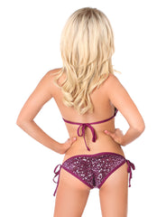 Sequin & Rhinestones Pucker Back Bikini