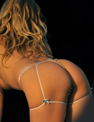 Faux Pearl G-String with Leg Wraps