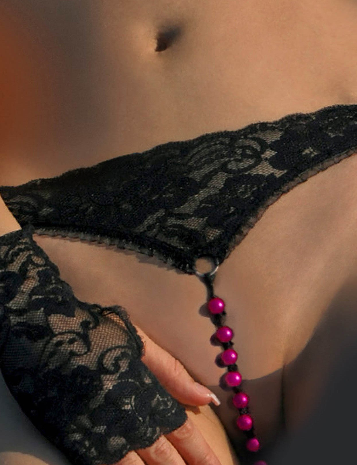 Hot Pink Beads Open G-String - just damn sexy  - 1