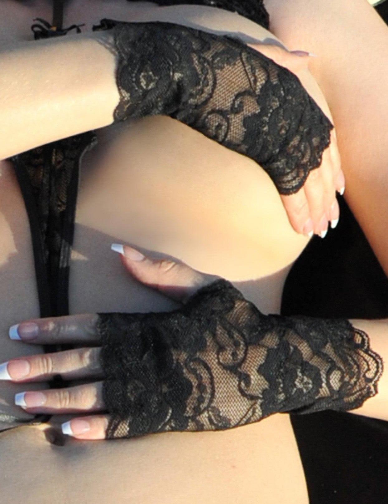 Black Lace Fingerless Gloves - just damn sexy  - 1