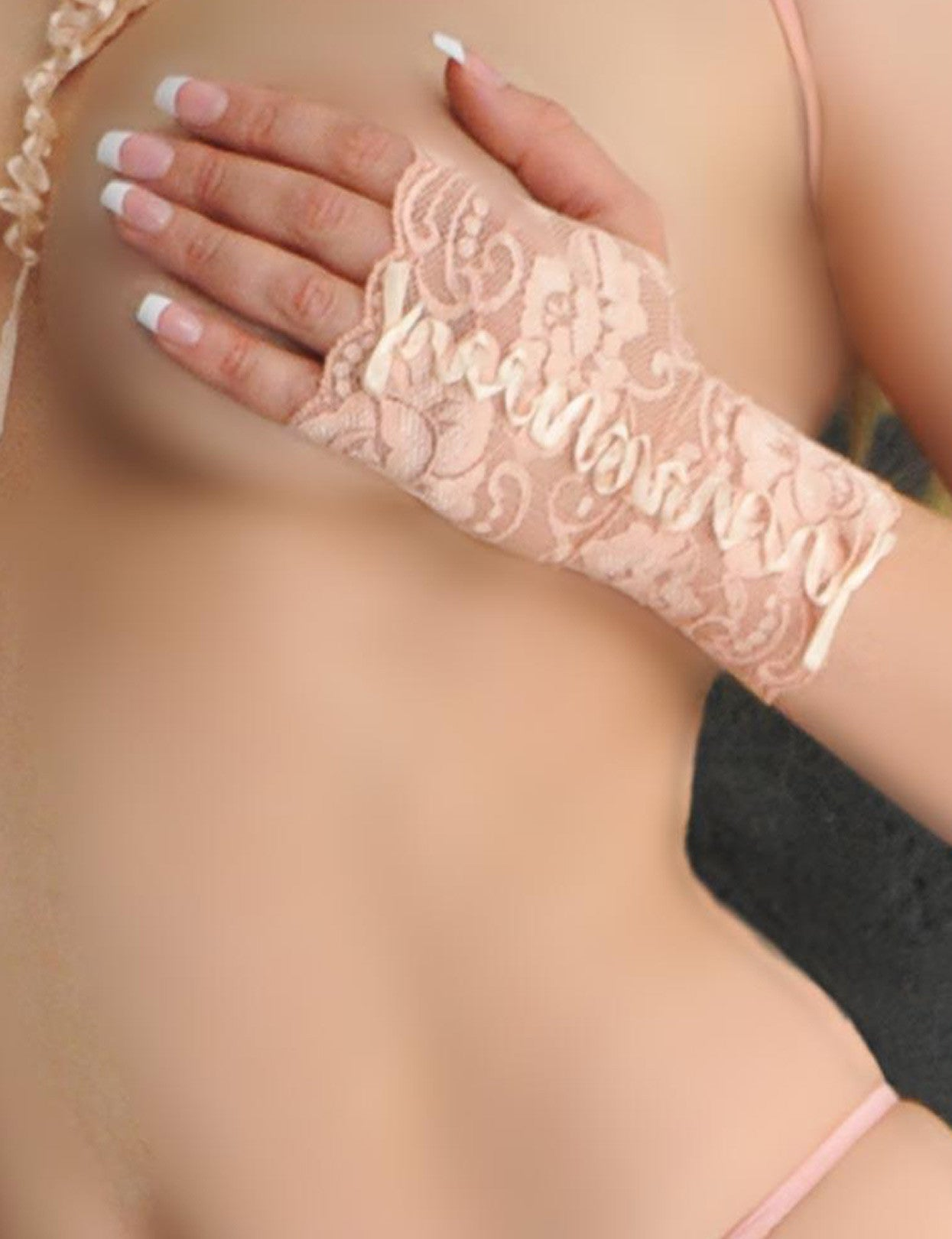 Nude Color Ribbon Embroidered Fingerless Gloves - just damn sexy  - 3