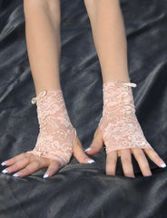 Nude Color Ribbon Embroidered Fingerless Gloves - just damn sexy  - 2