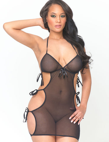 Cut Out Net Chemise