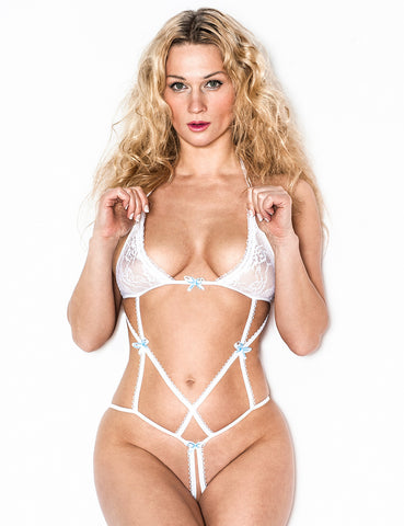 Bridal Body with Straps Crotchless Bottom