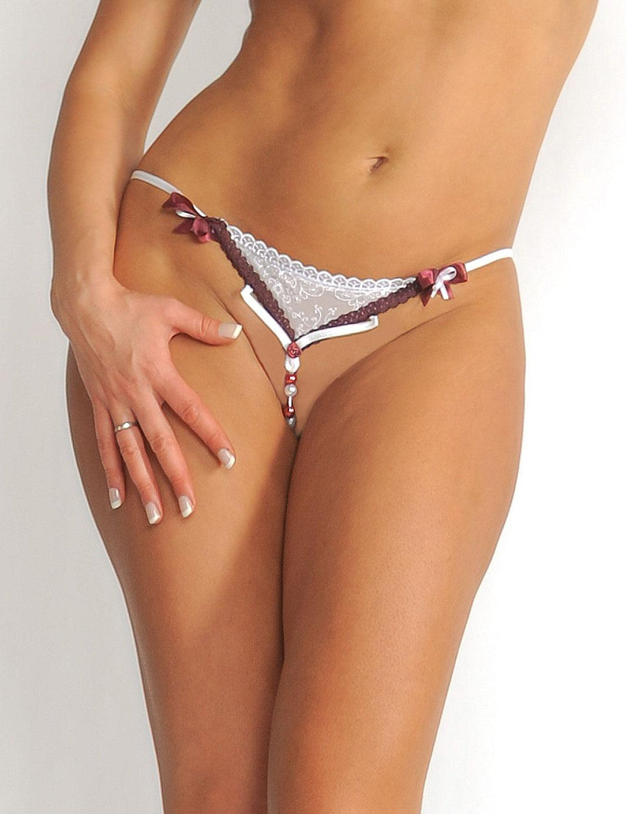 Crotchless G-String with Candy Cane Bead Strand - just damn sexy  - 1