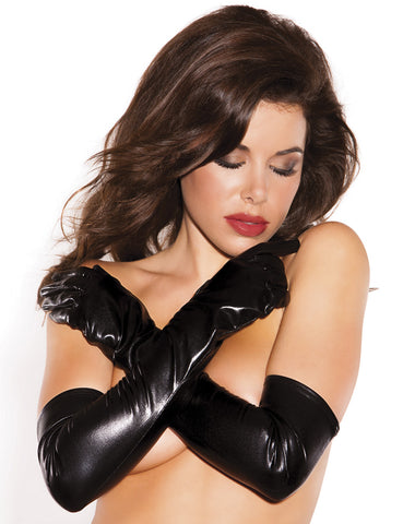 Wet Look Long Gloves - just damn sexy