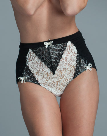 High Waisted Panties with Modal Jersey and Lace