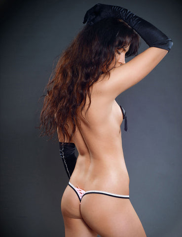 Lace Up Two Tone Thong