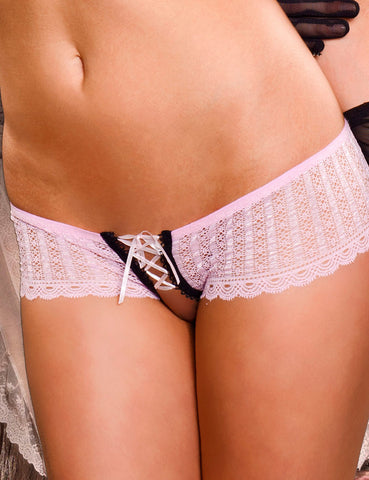 Lace Up Crotchless Hipster Panties - just damn sexy  - 1