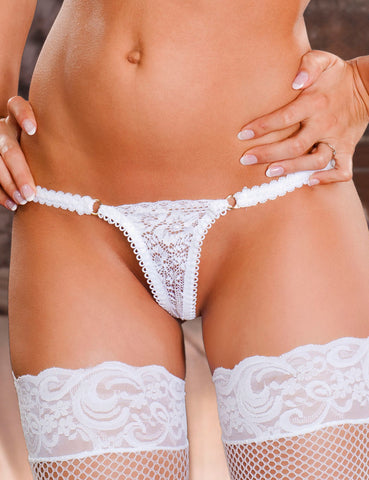 White Lace G-String Panties