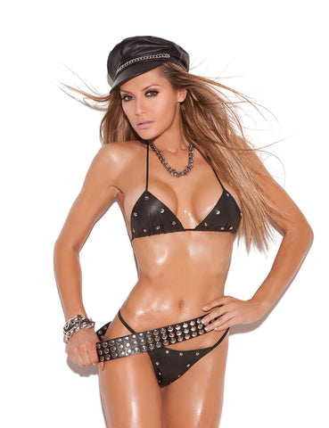 Leather Studded Bra and G-String