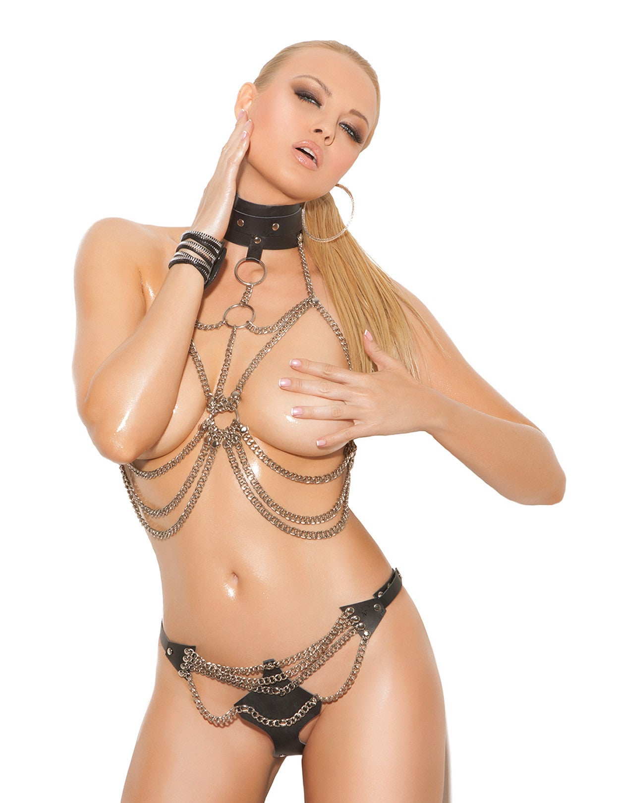 Chain Vest with Leather Collar and Thong - just damn sexy  - 1