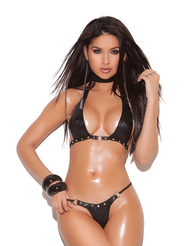 Leather Nail Head Bra and G-String