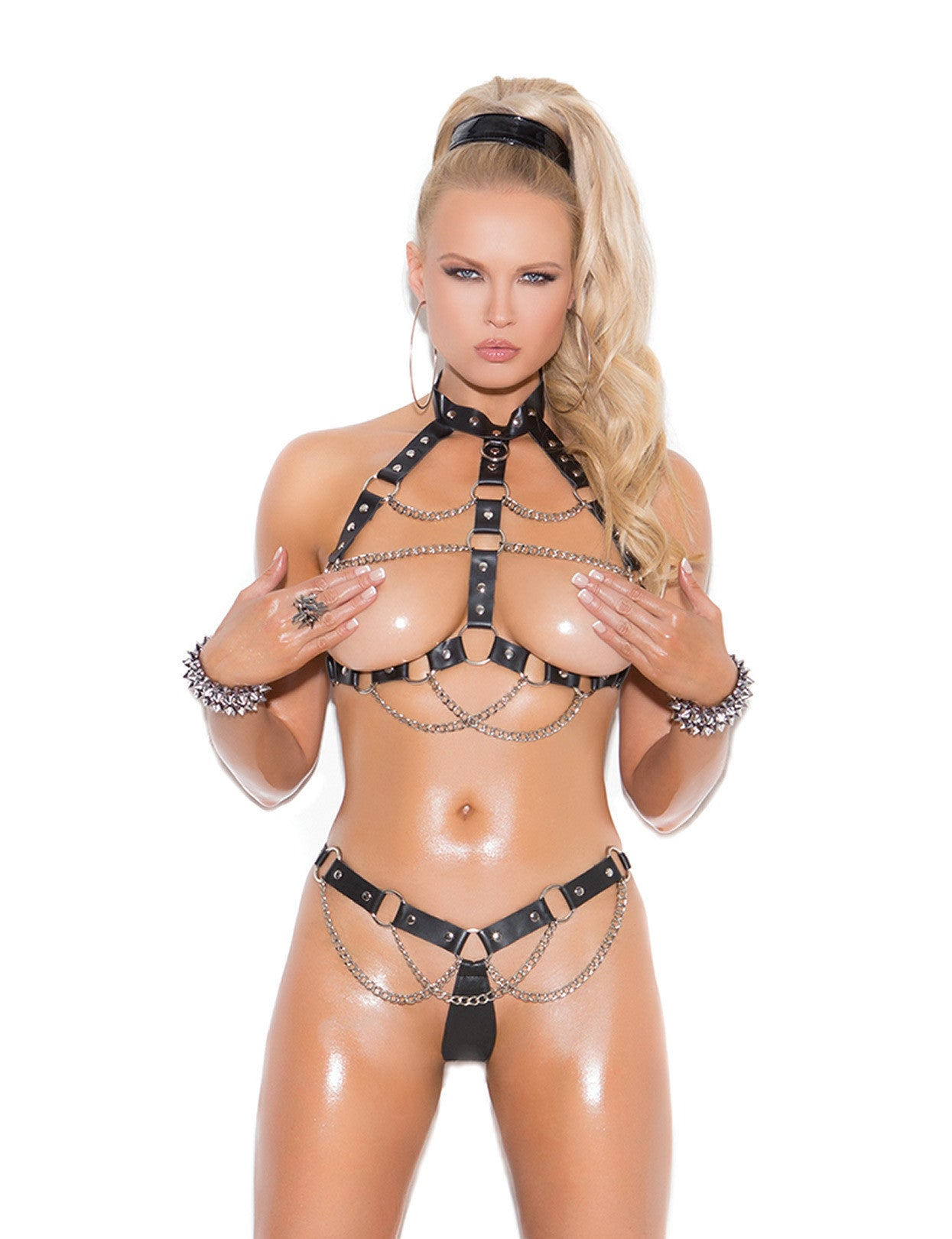 Leather 'n Chains Bra and Thong - just damn sexy  - 1