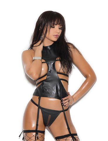 Leather Open Bust Camisette Set