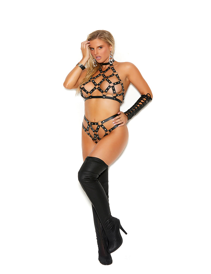 Caged Leather Set