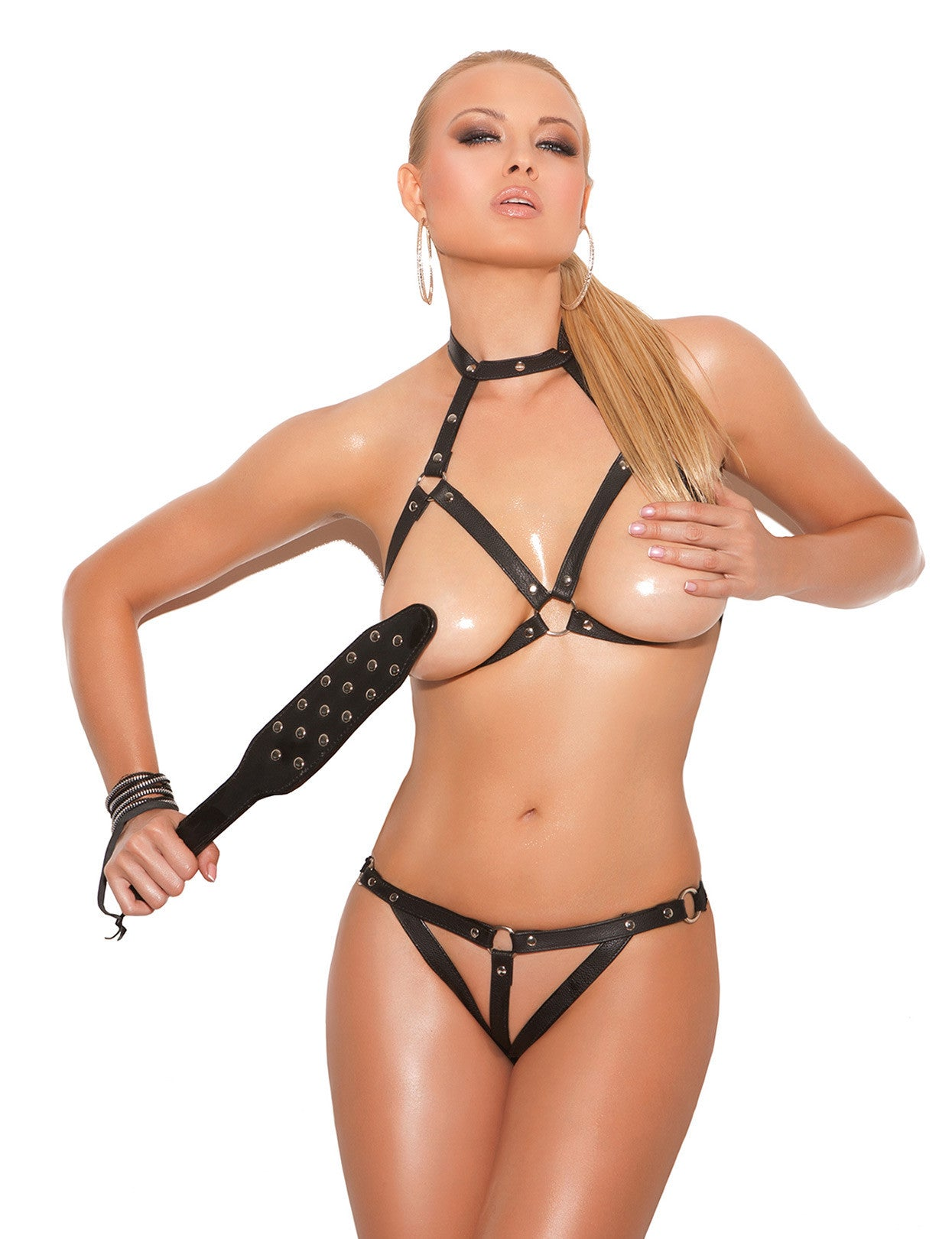 Leather Open Cup Bra and Crotchless G-String - just damn sexy  - 1