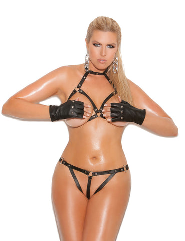 Plus Size Leather Open Cup Bra and Crotchless G-String