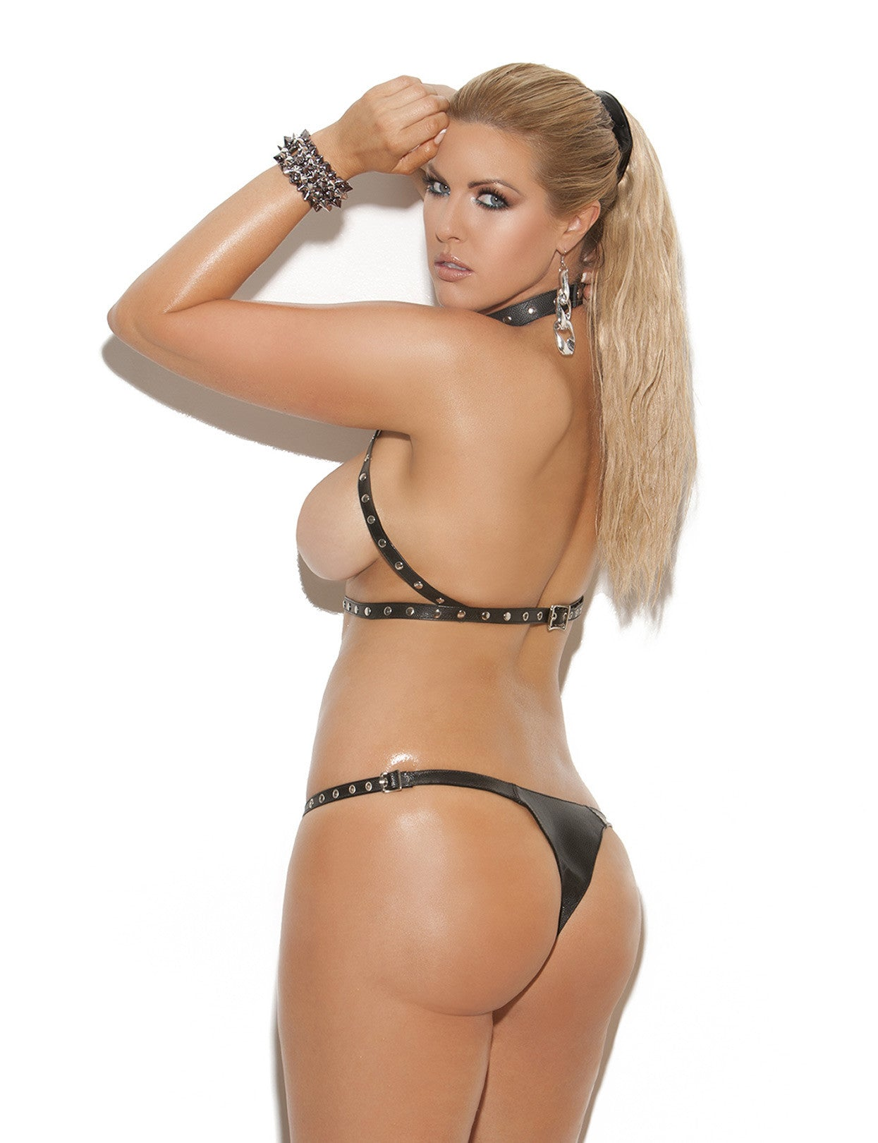 Plus Size Leather 'n Chains Halter Bra and Cut Out Thong - just damn sexy  - 2