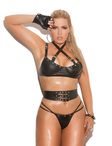 Plus Size Leather Buckle Detail Underwire Bra, Waist Cincher and Panty