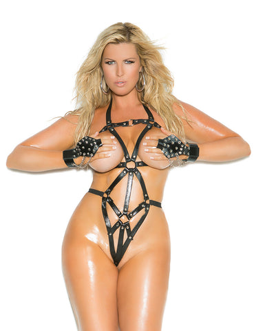 Plus Size Leather Thong Back Strappy Teddy - just damn sexy