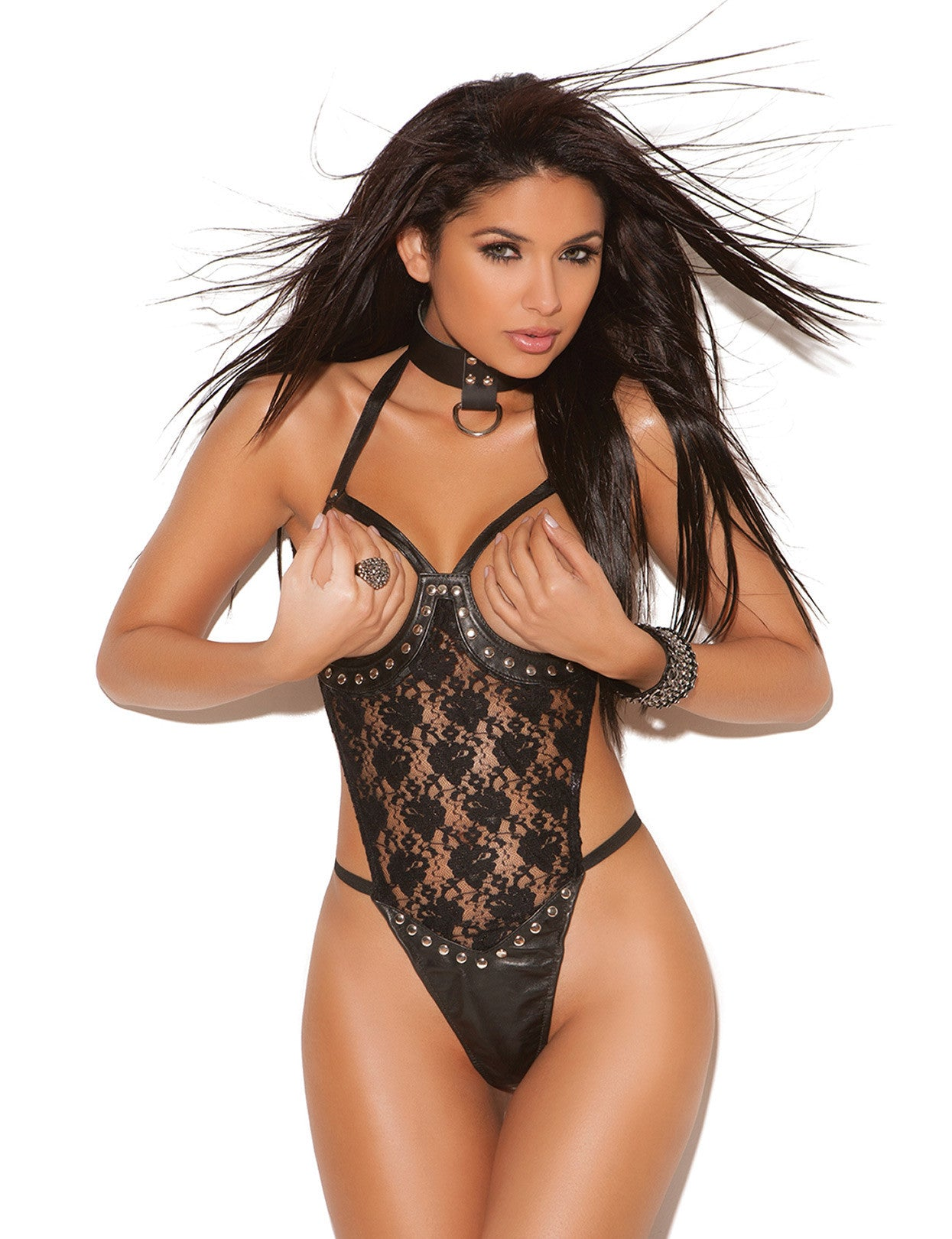 Lace 'n Leather Open Bust Teddy - just damn sexy  - 1