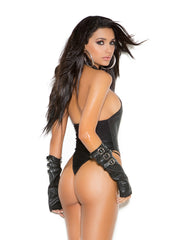 Leather Buckle Front Teddy - just damn sexy  - 2