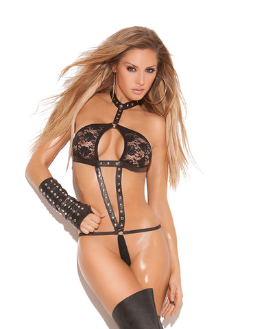 Lace 'n Leather Halter String Teddy