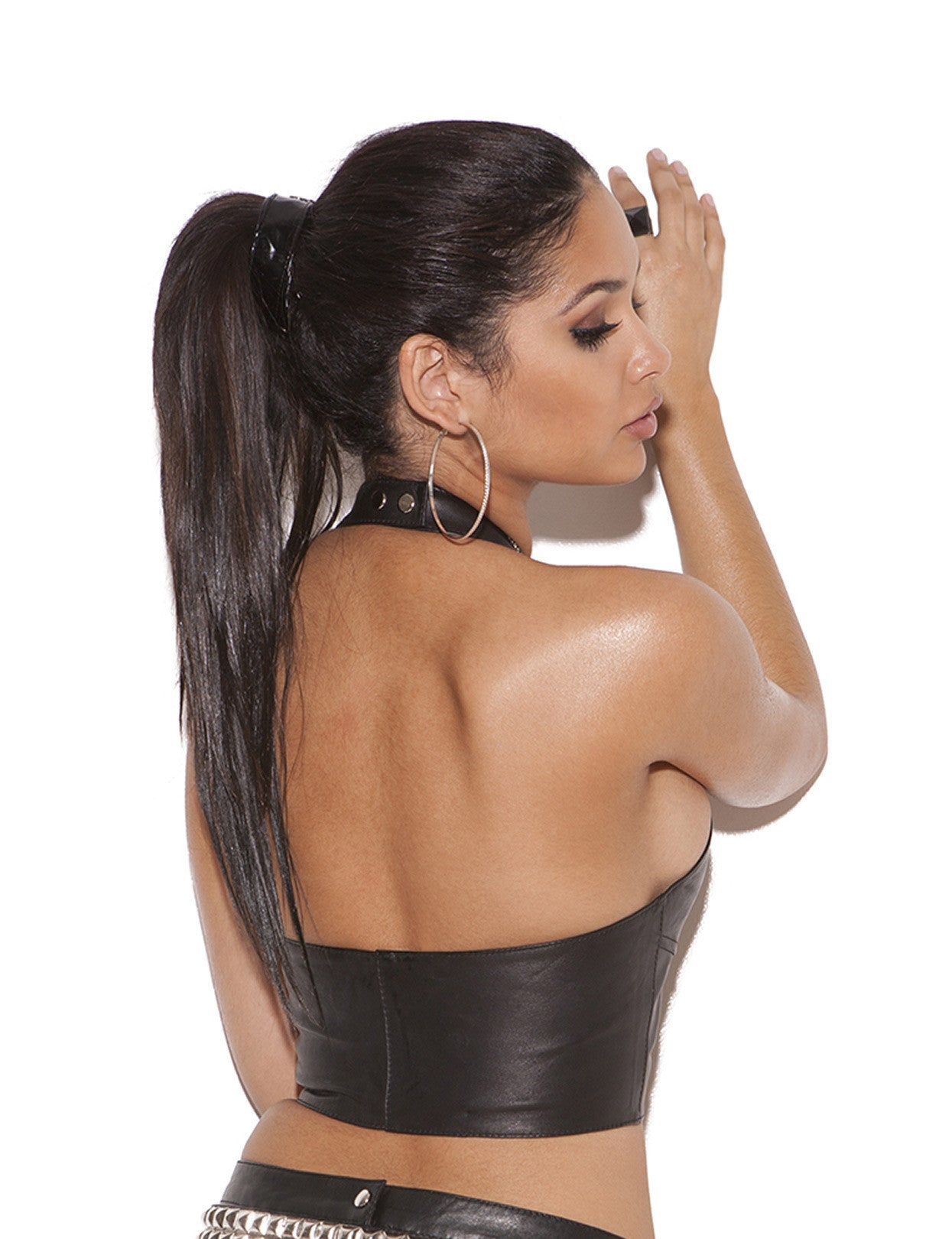 Leather Zip Front Halter Top - just damn sexy  - 2
