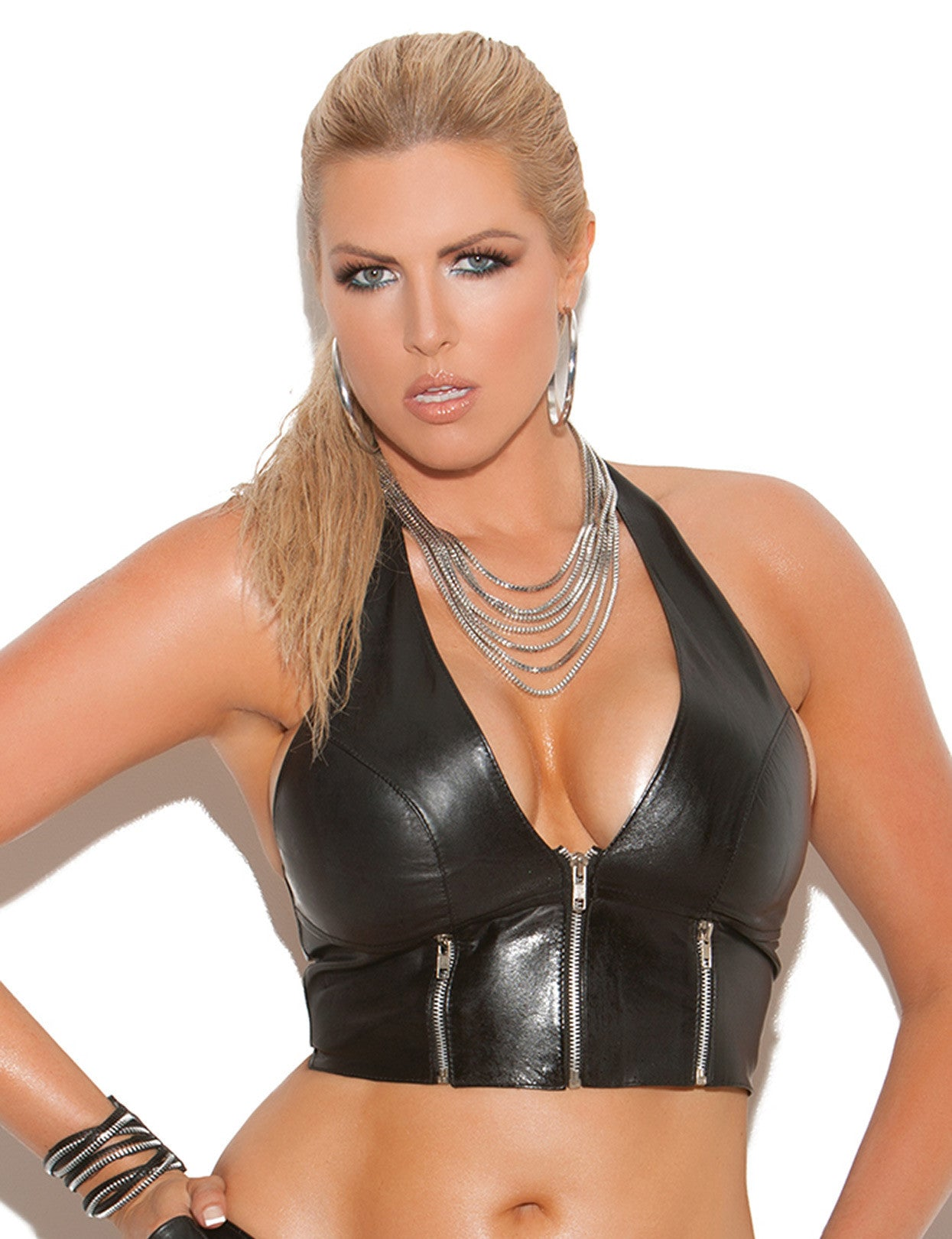 Plus Size Leather Zip Front Halter Top - just damn sexy  - 1