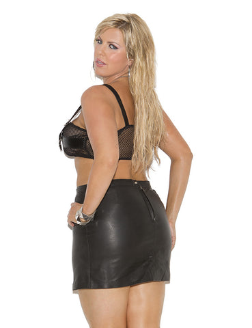Plus Size Leather Pencil Mini Skirt