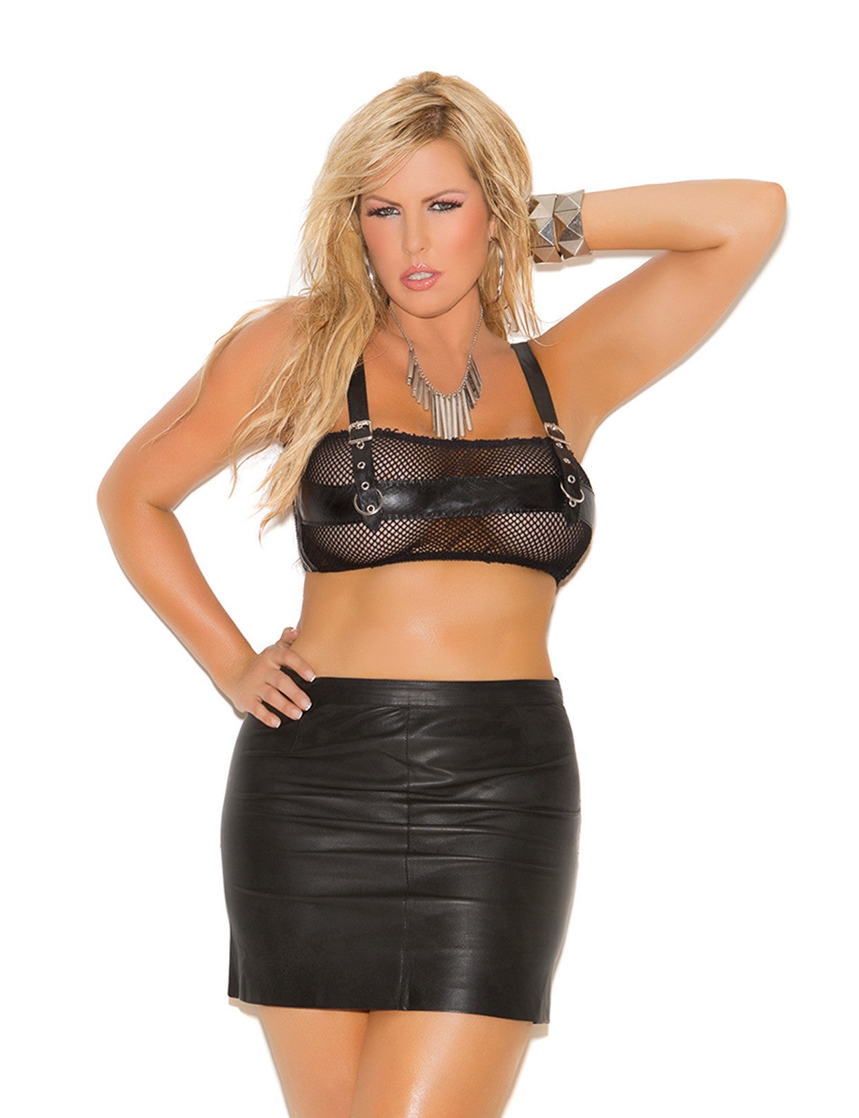 Plus Size Leather Pencil Mini Skirt - just damn sexy  - 1