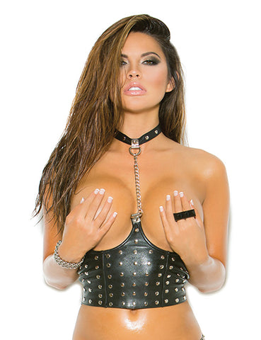 Plus Size Leather Cupless Chain Top