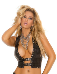 Studded Leather Open Front Vest - just damn sexy