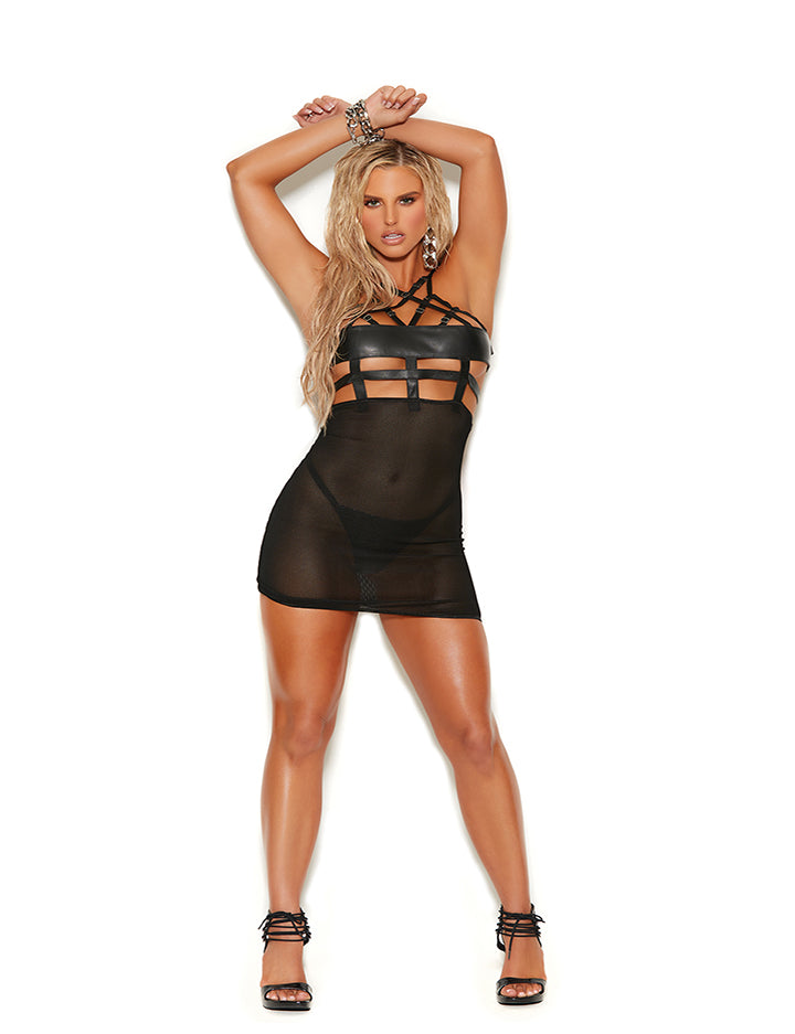 Leather and Fishnet Babydoll