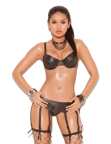 Plus Size Strappy Leather Garter Belt