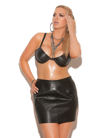 Plus Size Leather Underwire Bra - just damn sexy