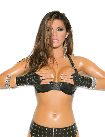 Plus Size Studded Leather Bra