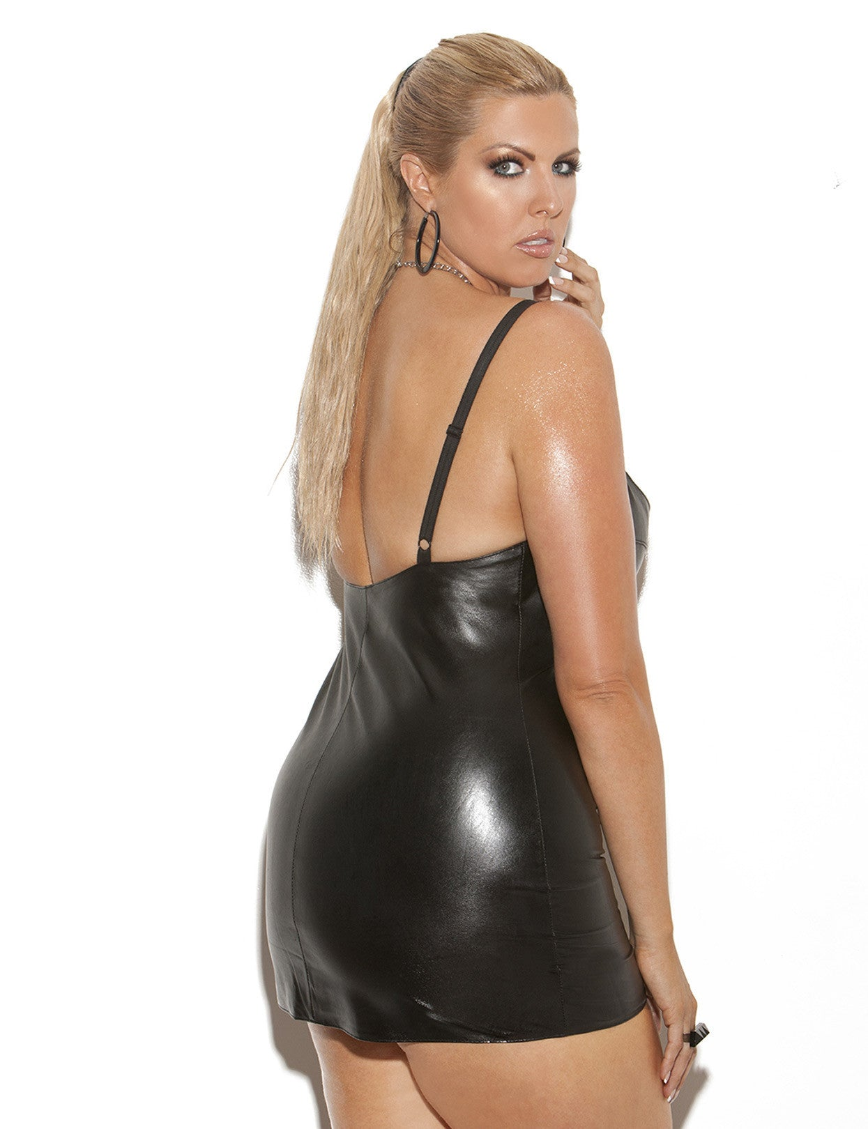 Plus Size Lace Up Leather Mini Dress - just damn sexy  - 2