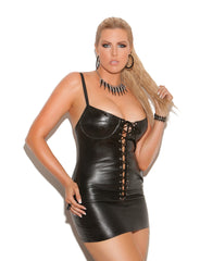 Plus Size Lace Up Leather Mini Dress - just damn sexy  - 1