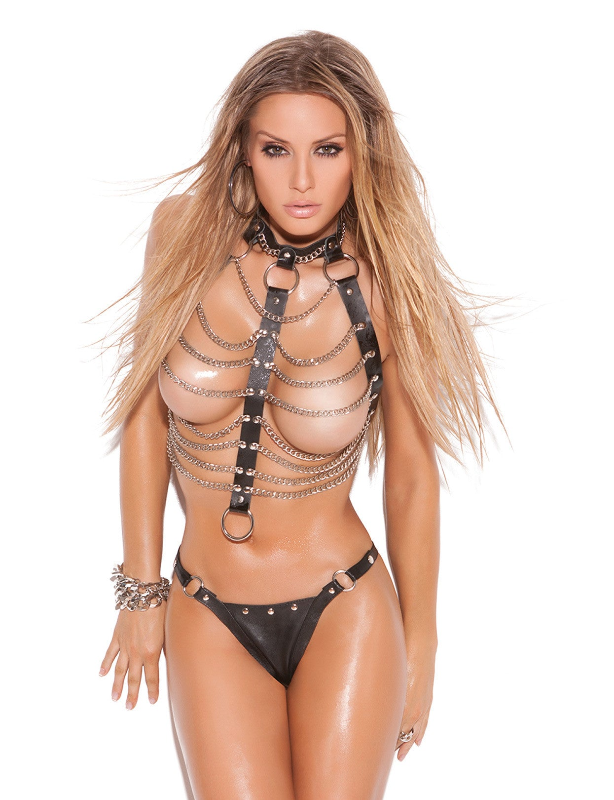 Leather 'n Chains Vest and Thong - just damn sexy  - 1