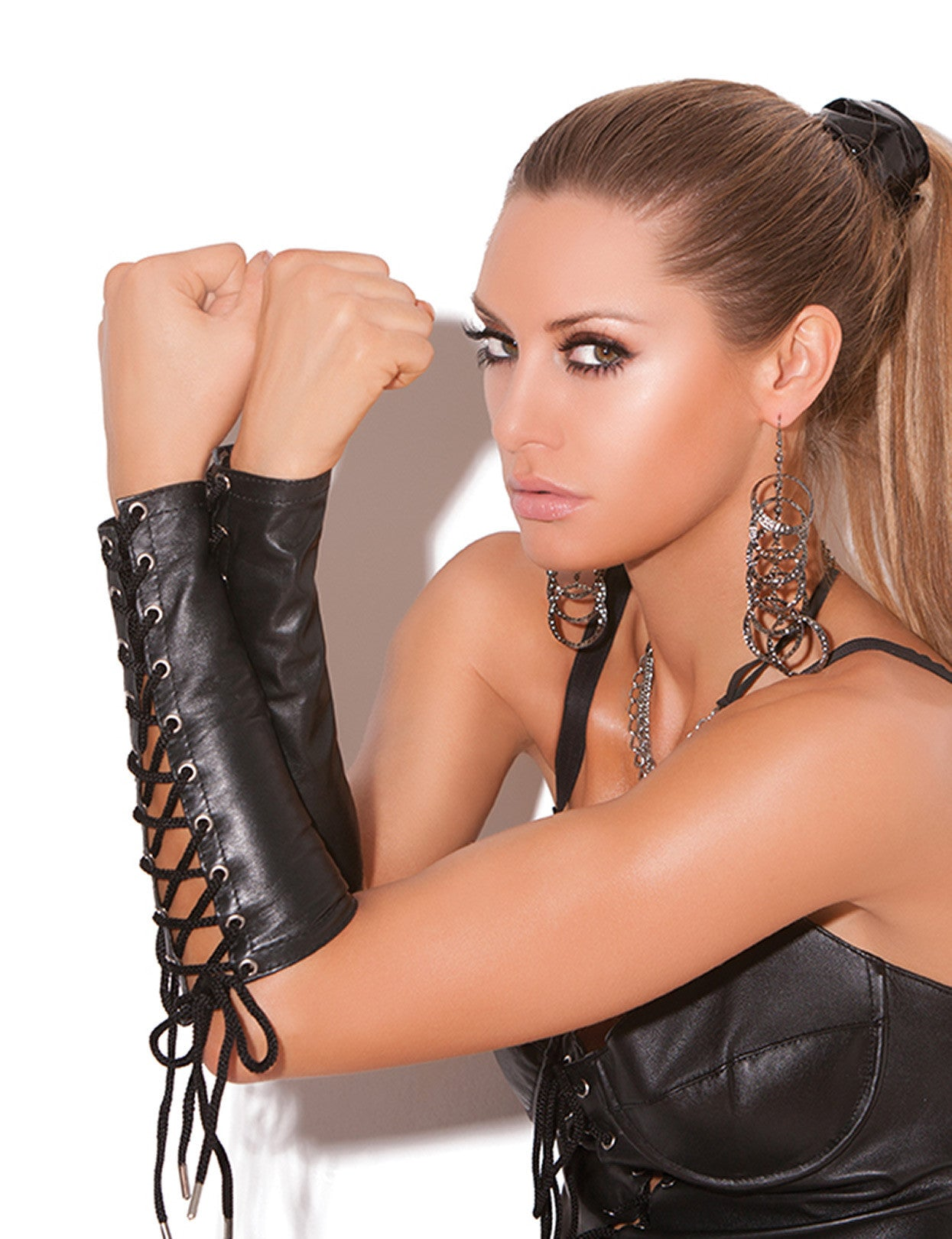 Leather Lace Up Gloves - just damn sexy