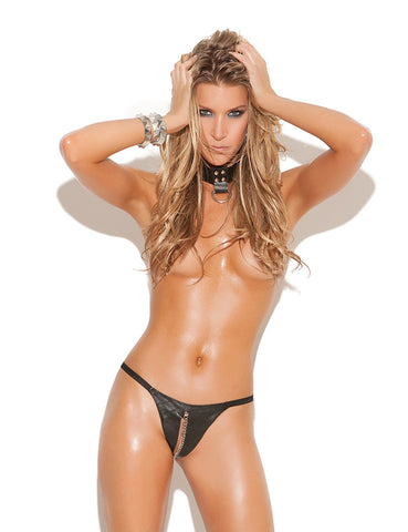 Leather Peek A Boo G-String